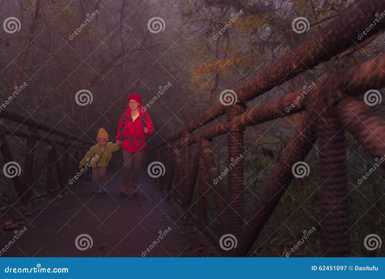 Ponte de cruzamento fêmea nova do caminhante e do filho na floresta enevoada