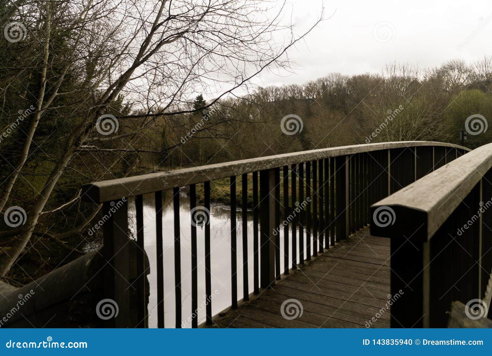 Ponte de madeira sobre águas do decano