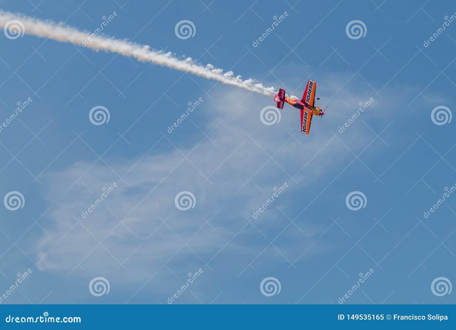 PONTE DE SOR, PORTUGAL - 3 JUNHO, 2019 : Air Show, pilot in flight action. PORTUGAL AIR SUMMIT