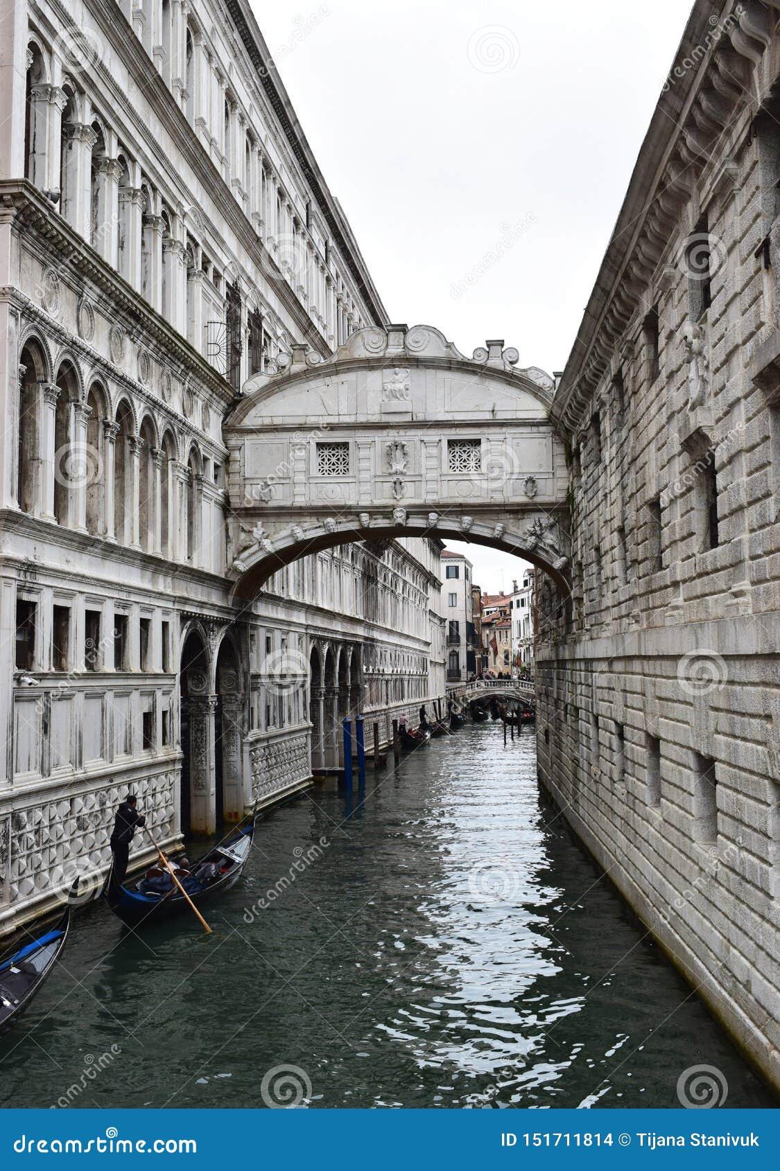 Ponte Del Sospiri, Brug van Sighs in Venetië, Italië