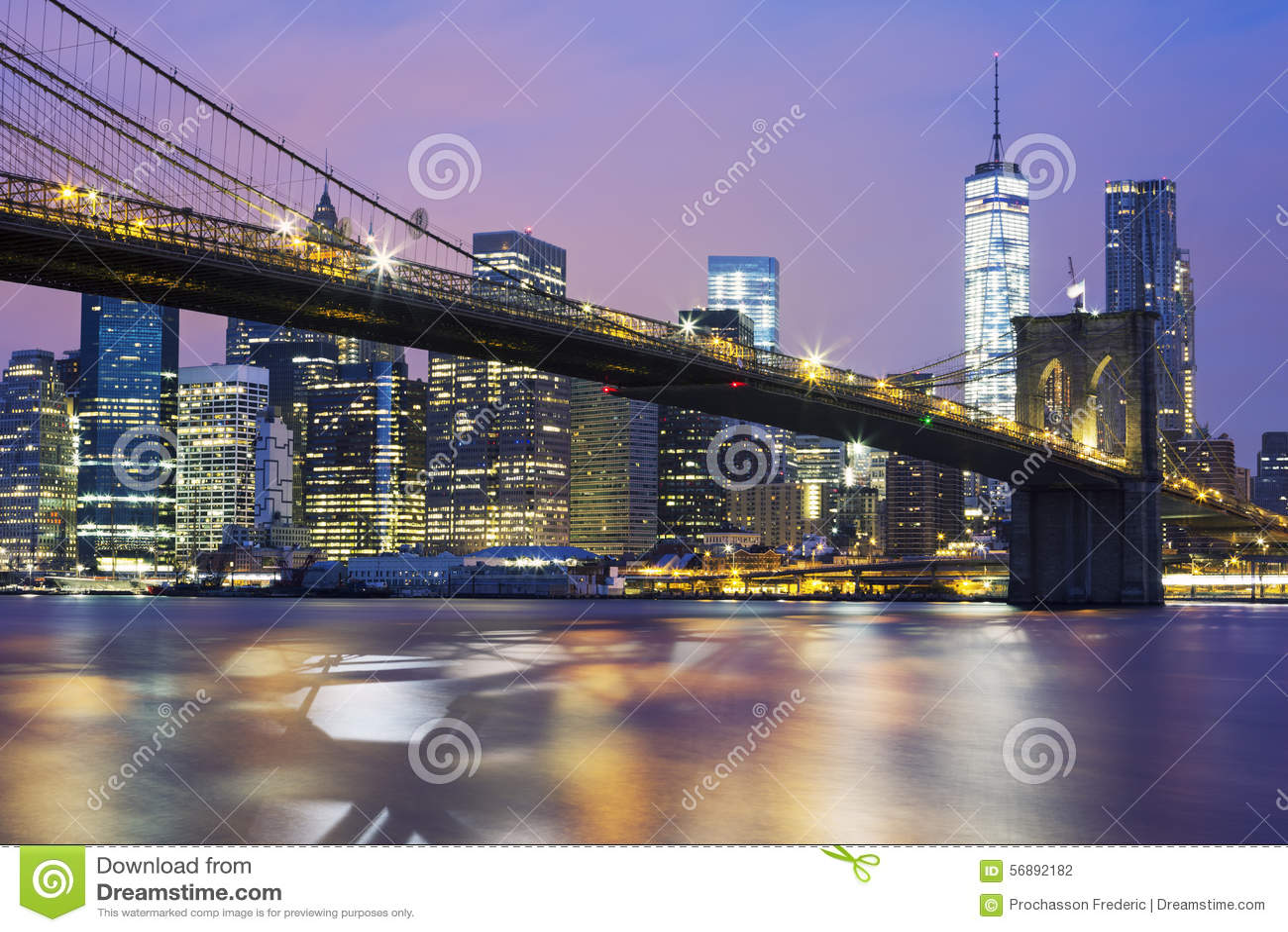 Ponte di Brooklyn al crepuscolo