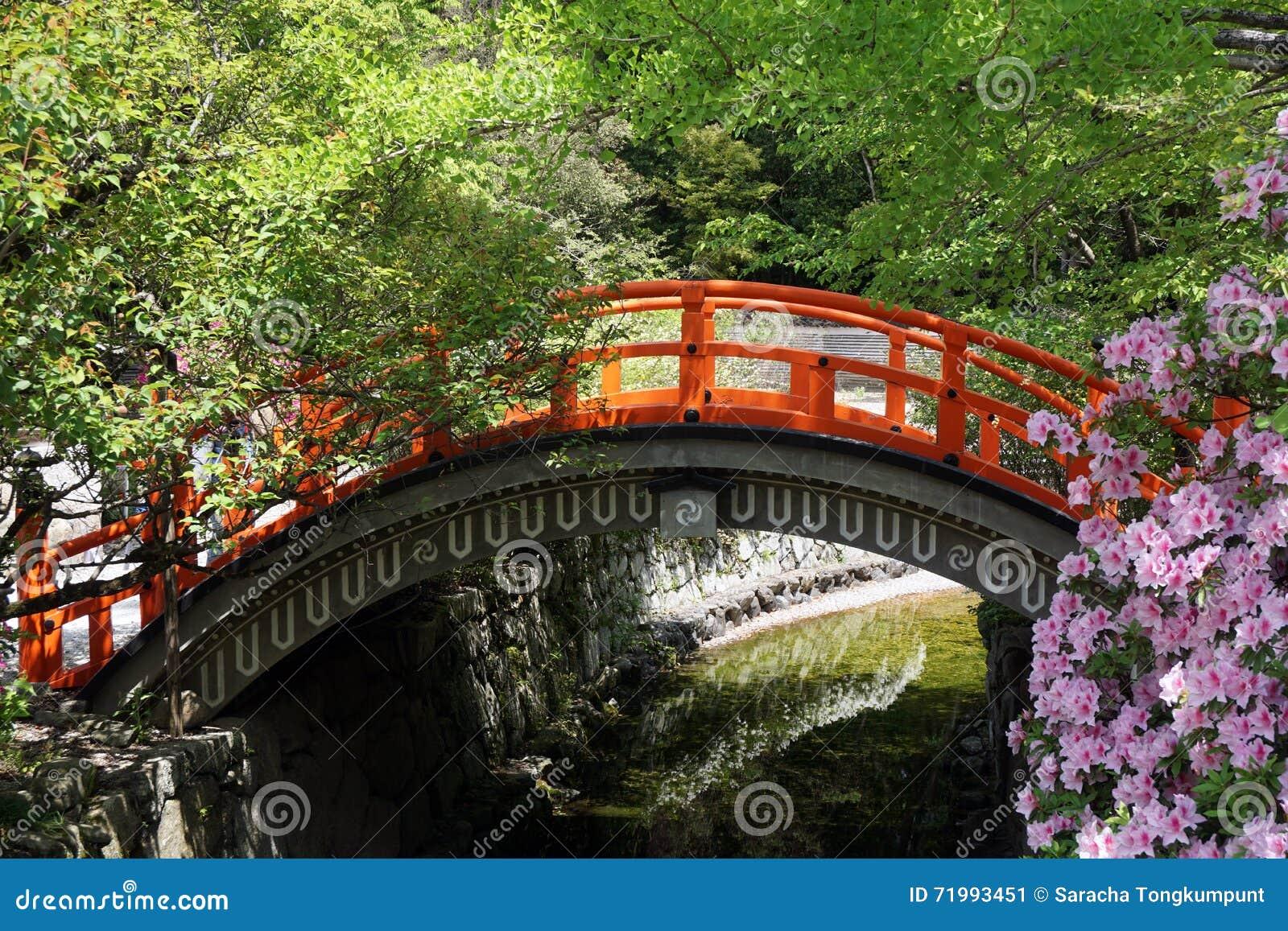 Ponte di legno rosso giapponese in parco immagine stock for Legno giapponese