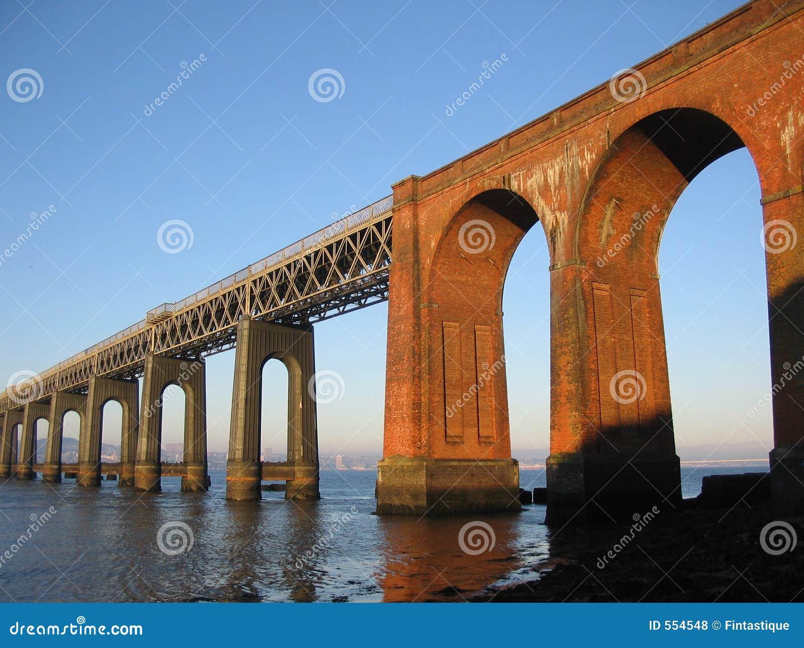 Ponte e Dundee do trilho de Tay do Fife, Scotland