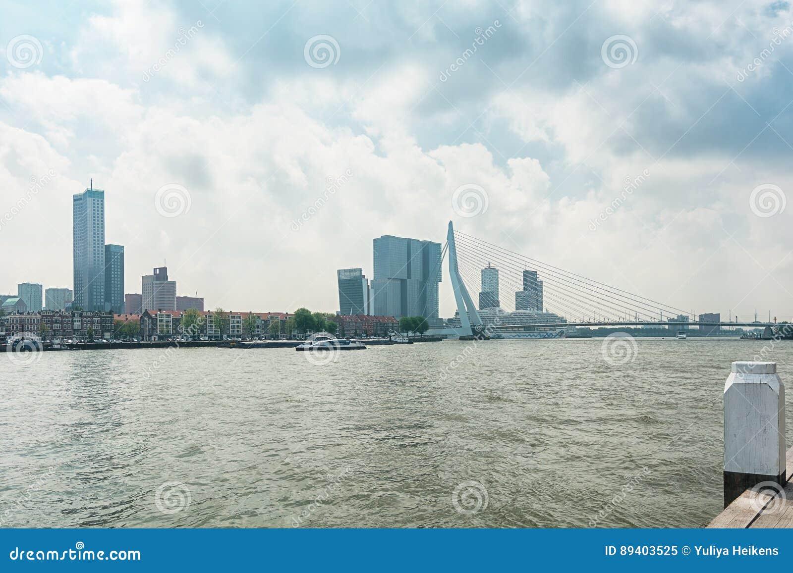 A ponte Erasmusbrug igualmente conhecido como a ponte da cisne em Rotterdam