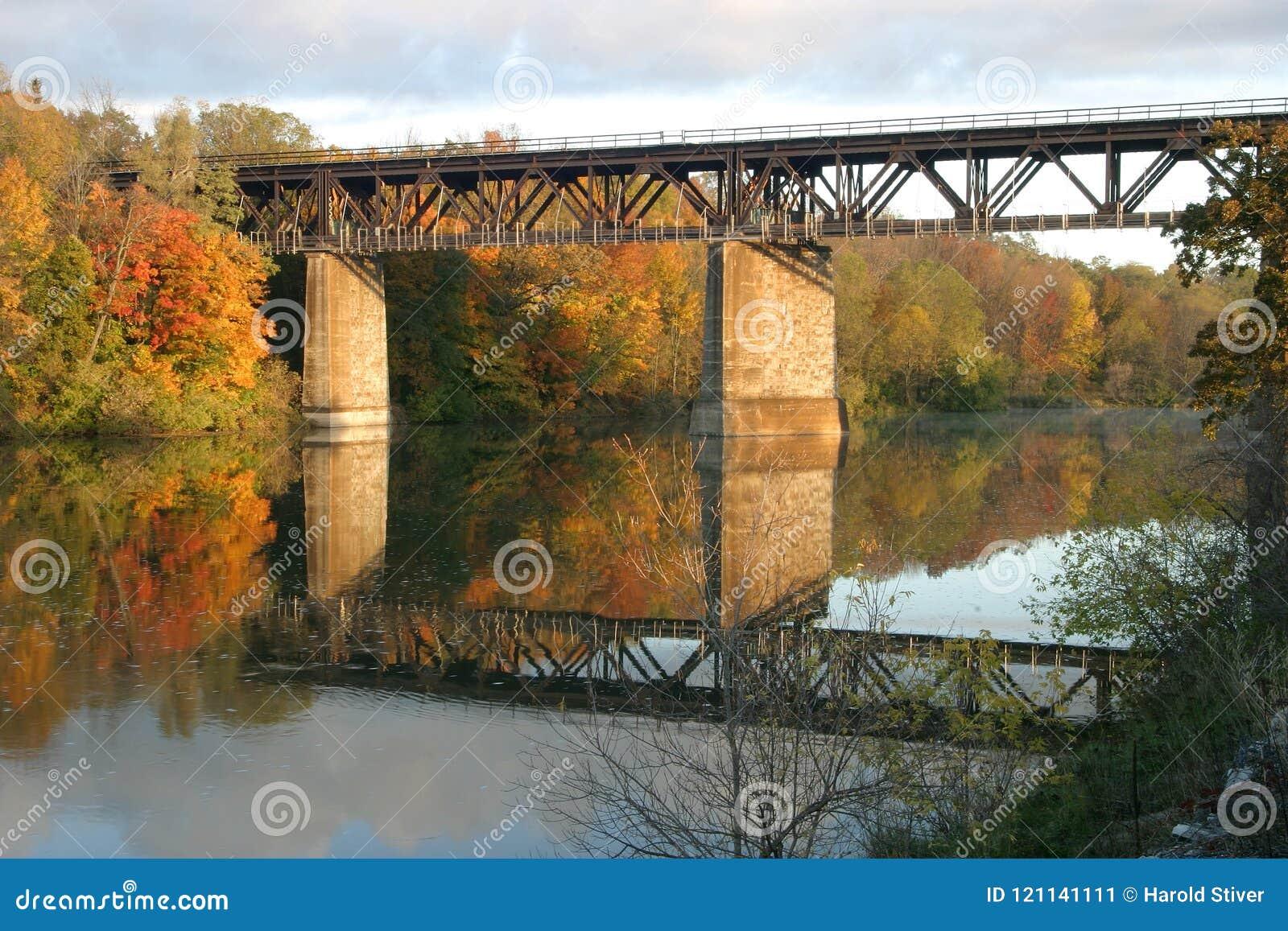 Ponte Railway o rio grande, Paris, Canadá na queda