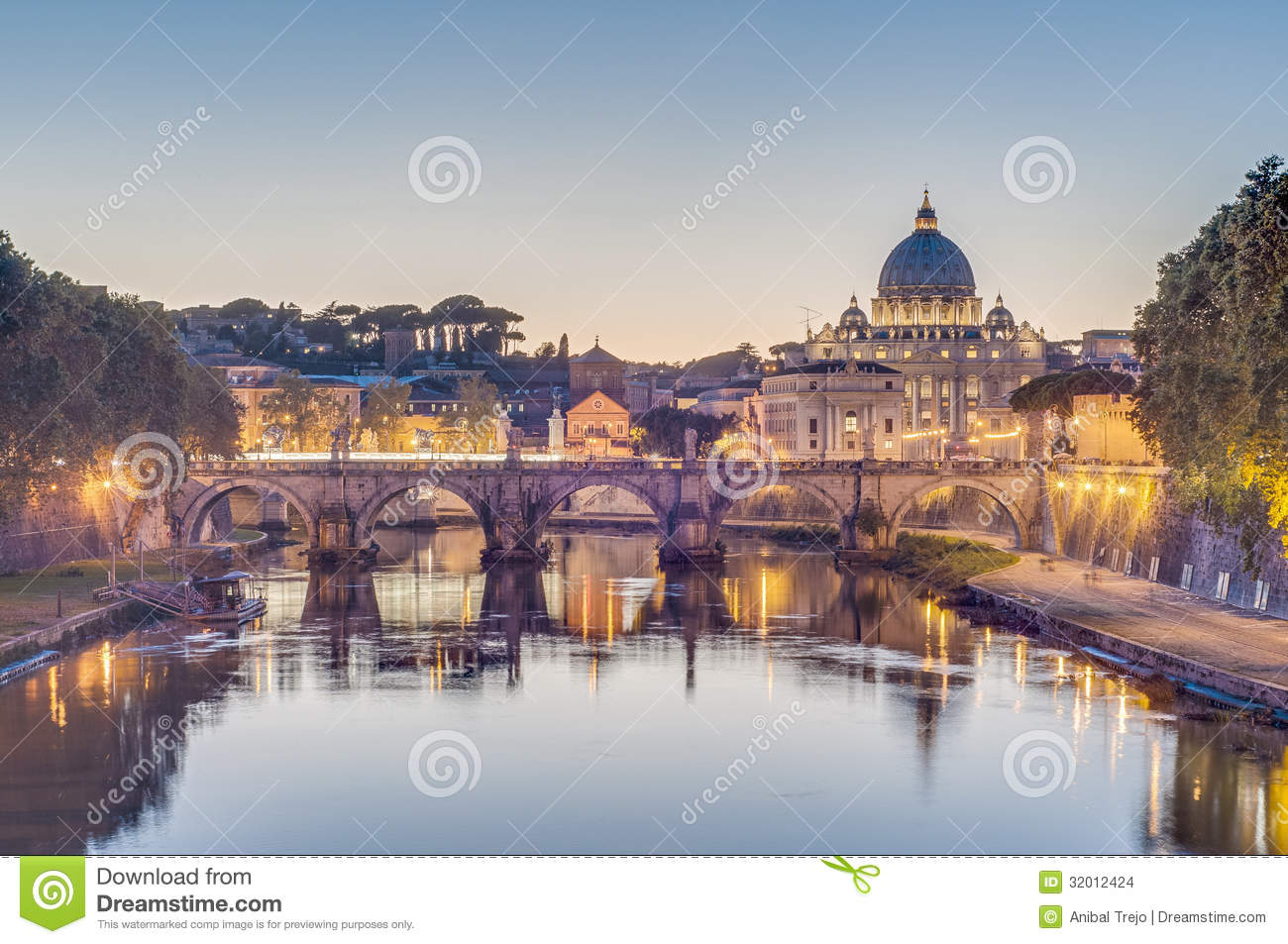 Download Ponte Sant'Angelo (Bridge Of Hadrian) In Rome, Italy, Stock Photo - Image of eternal, famous: 32012424