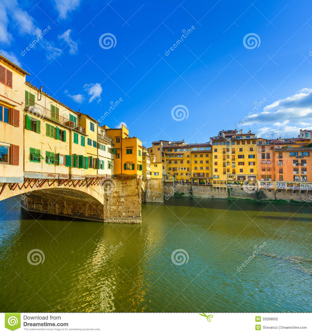Ponte vecchio landmark on sunset old bridge arno river for Is florence in tuscany