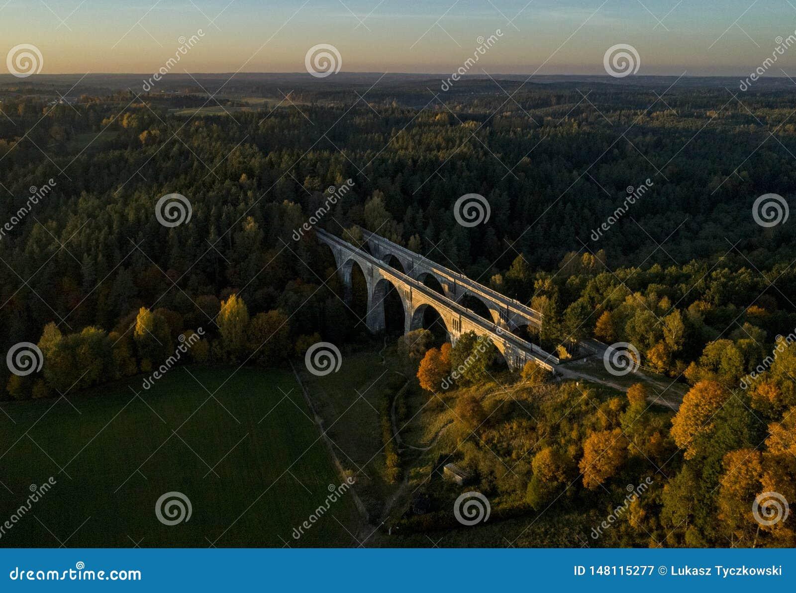 Pontes de estrada de ferro velhas no Polônia - opinião do zangão