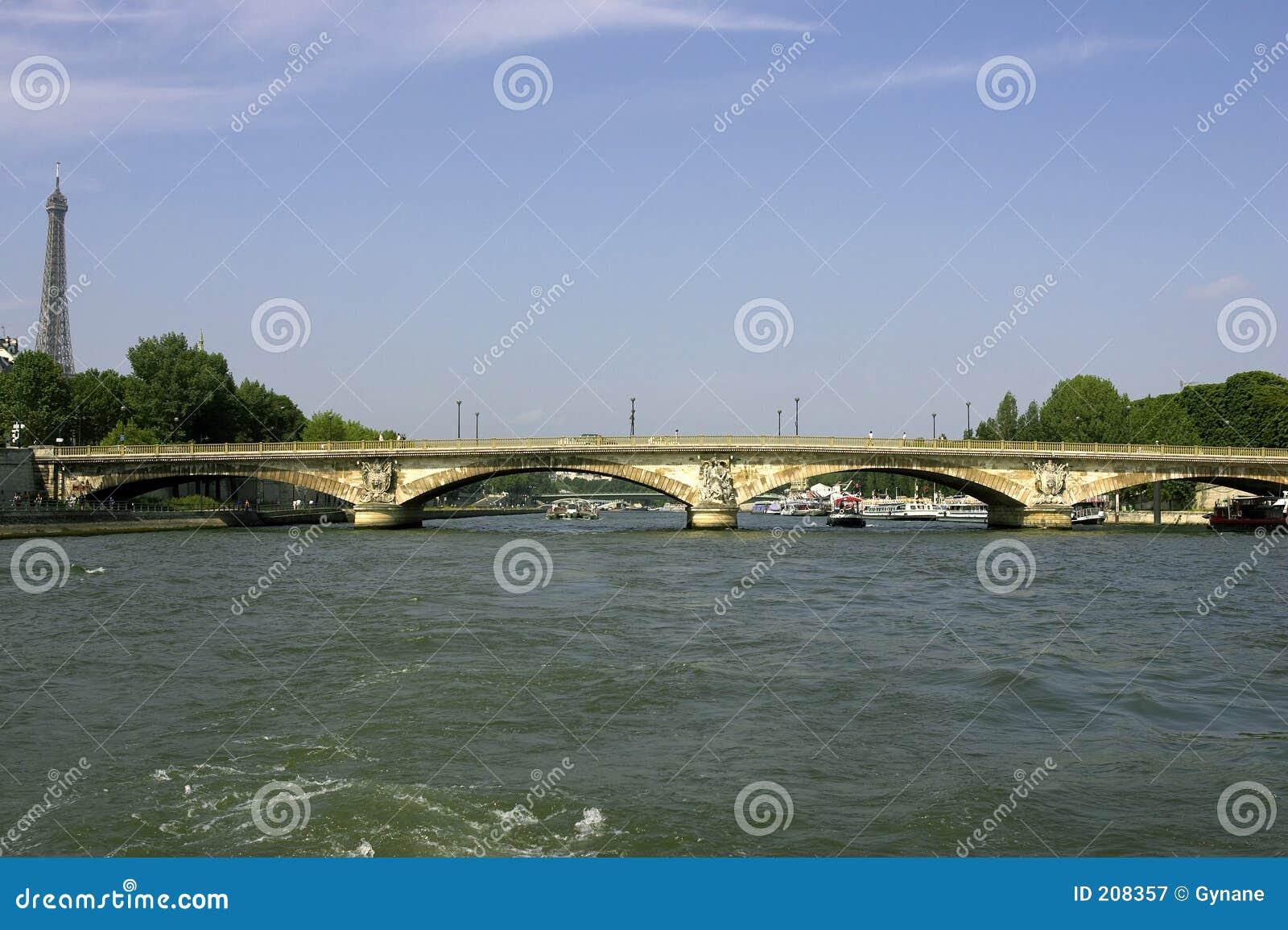 Ponticello dei invalides del DES di Pont sopra la senna Parigi Francia del fiume