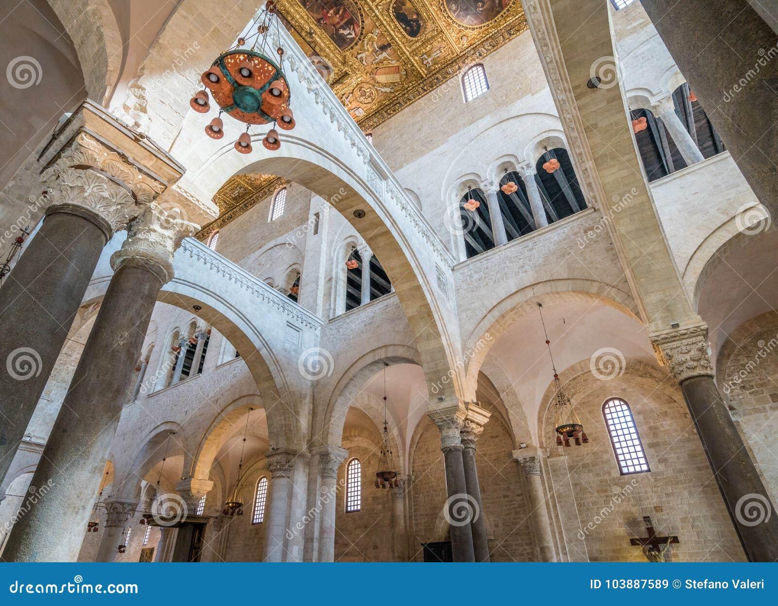 The Inside Of Saint Nicola Basilica In Bari, Apulia ...