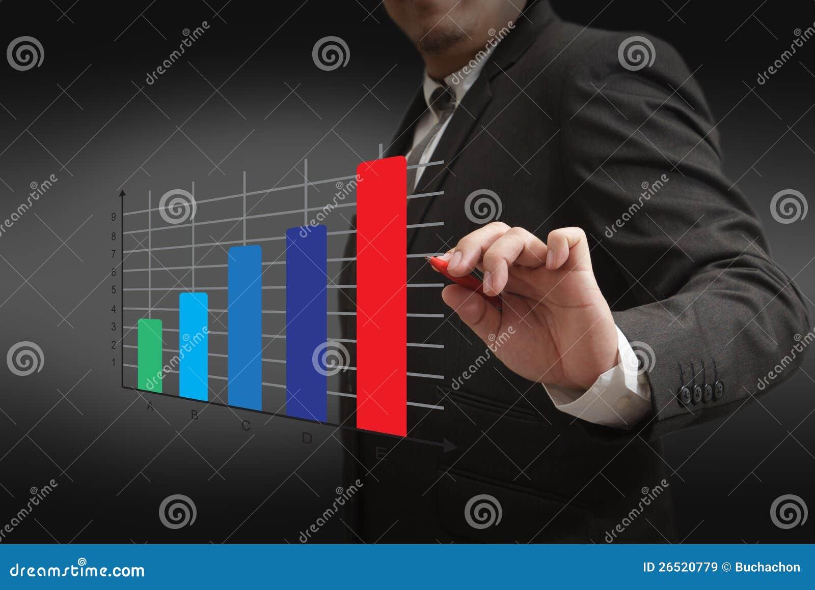 Ponto à moda do homem de negócios ao gráfico