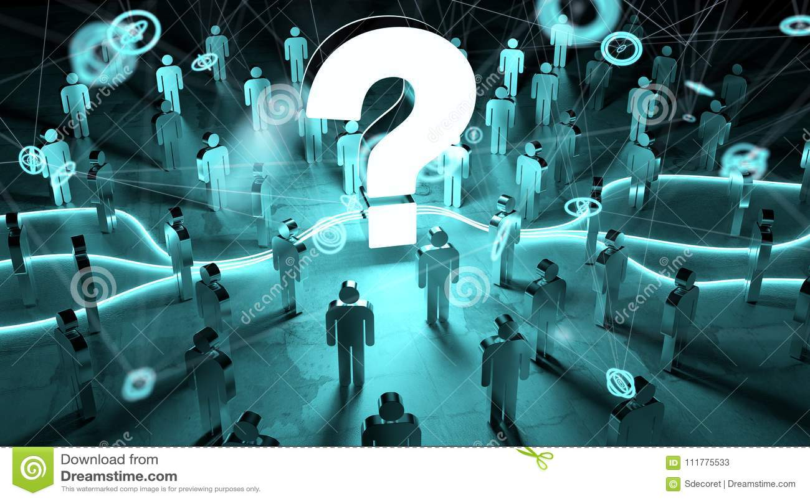 Ponto de interrogação que ilumina uma rendição do grupo de pessoas 3D