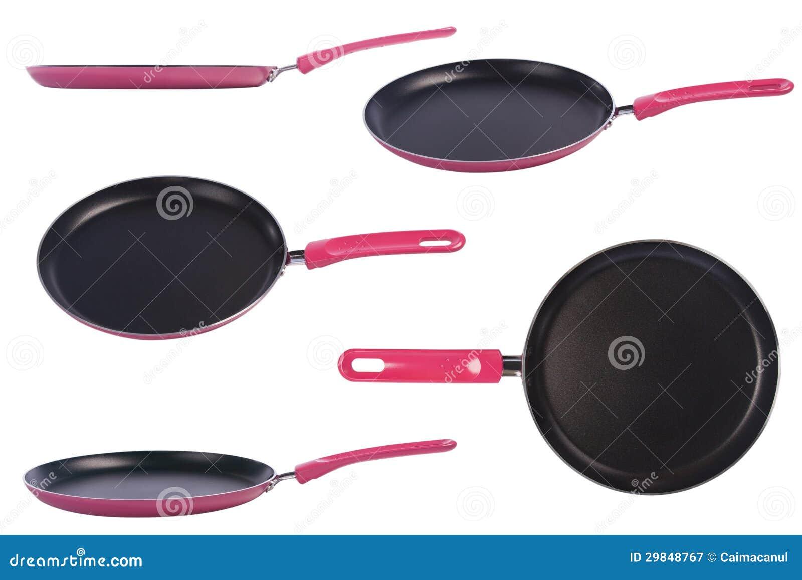 Frigideira cor-de-rosa com um revestimento não-aderente