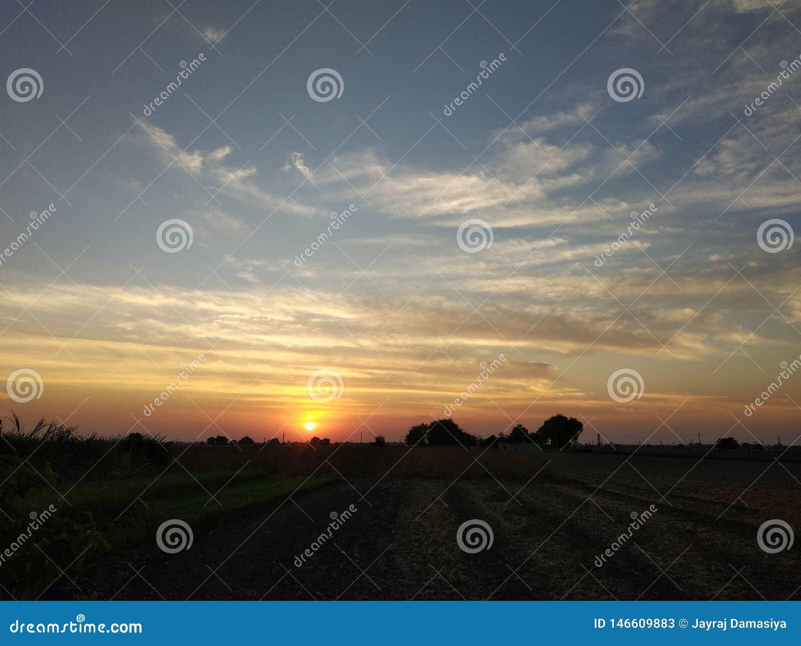 Ponto do por do sol na exploração agrícola e na opinião dourada da luz do sol