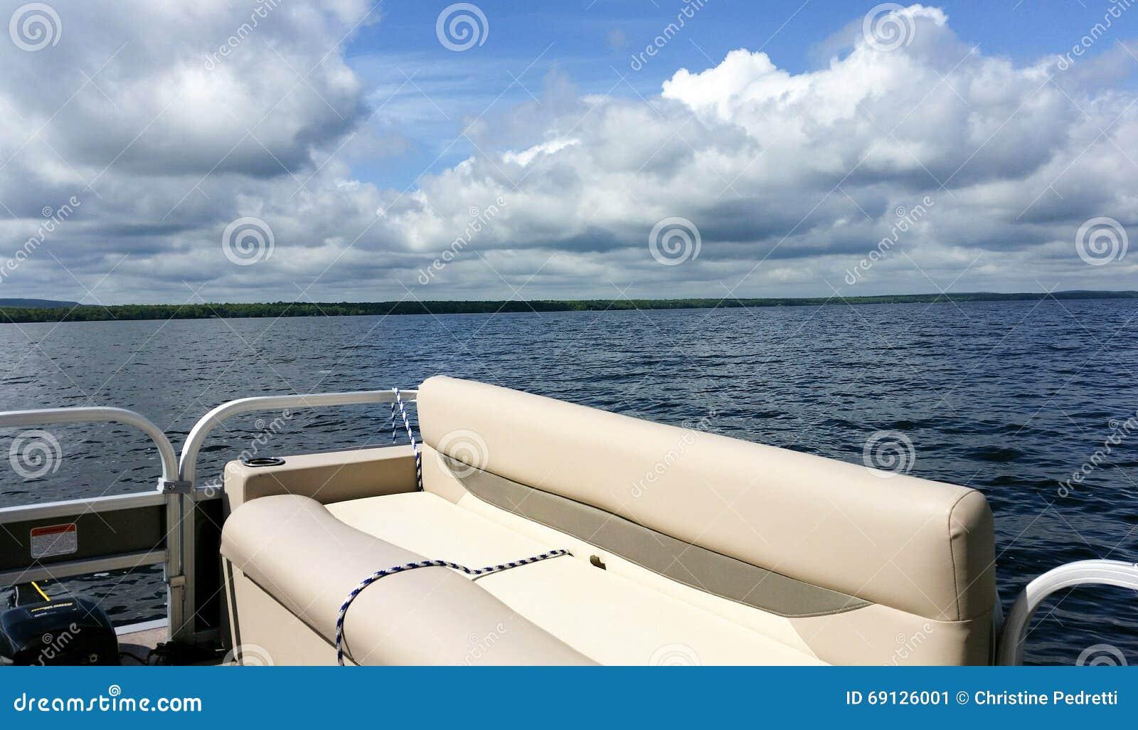 Pontoon Boat On Lake Stock Photo - Image: 69126001