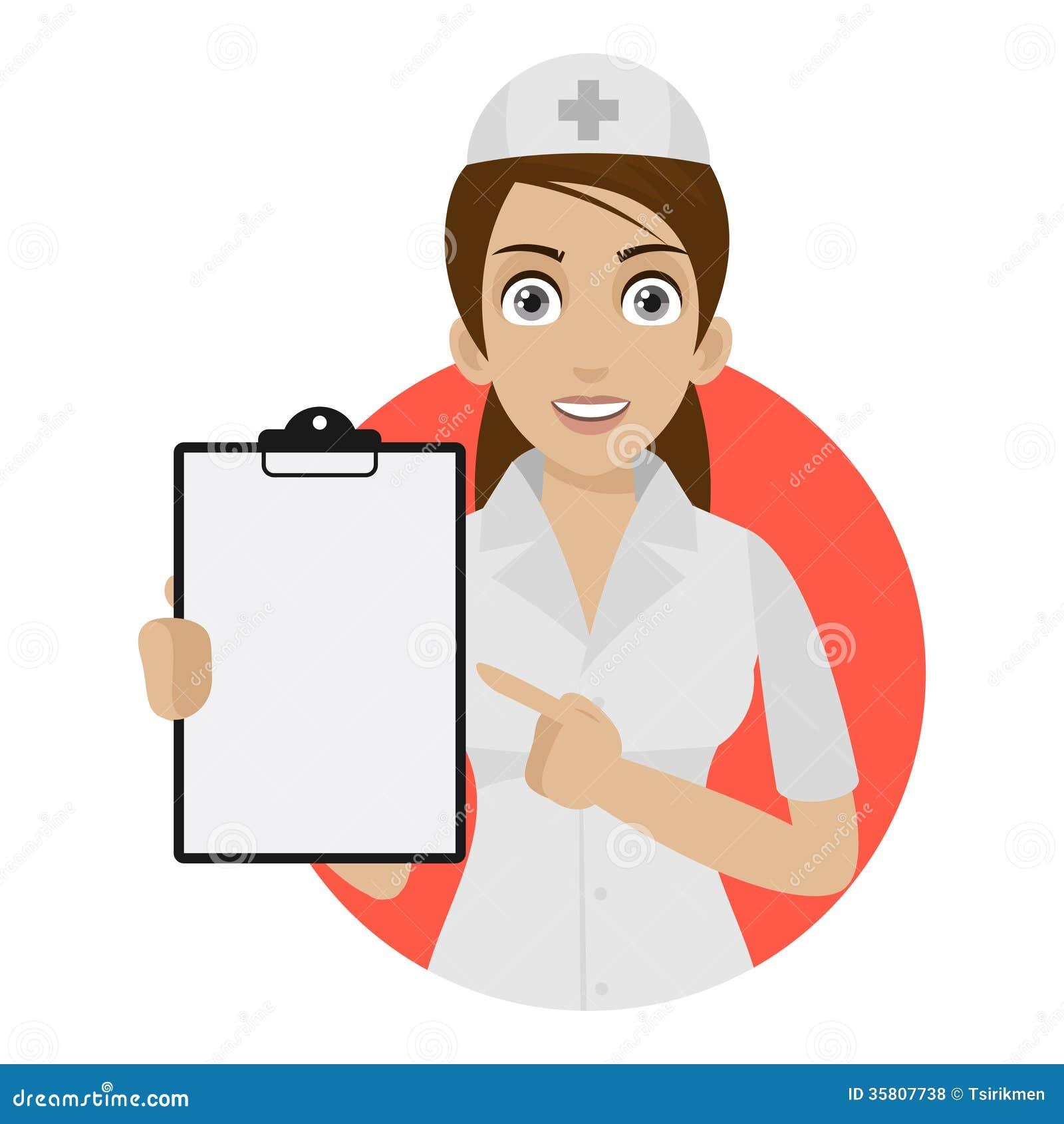 Pontos da enfermeira ao formulário no círculo