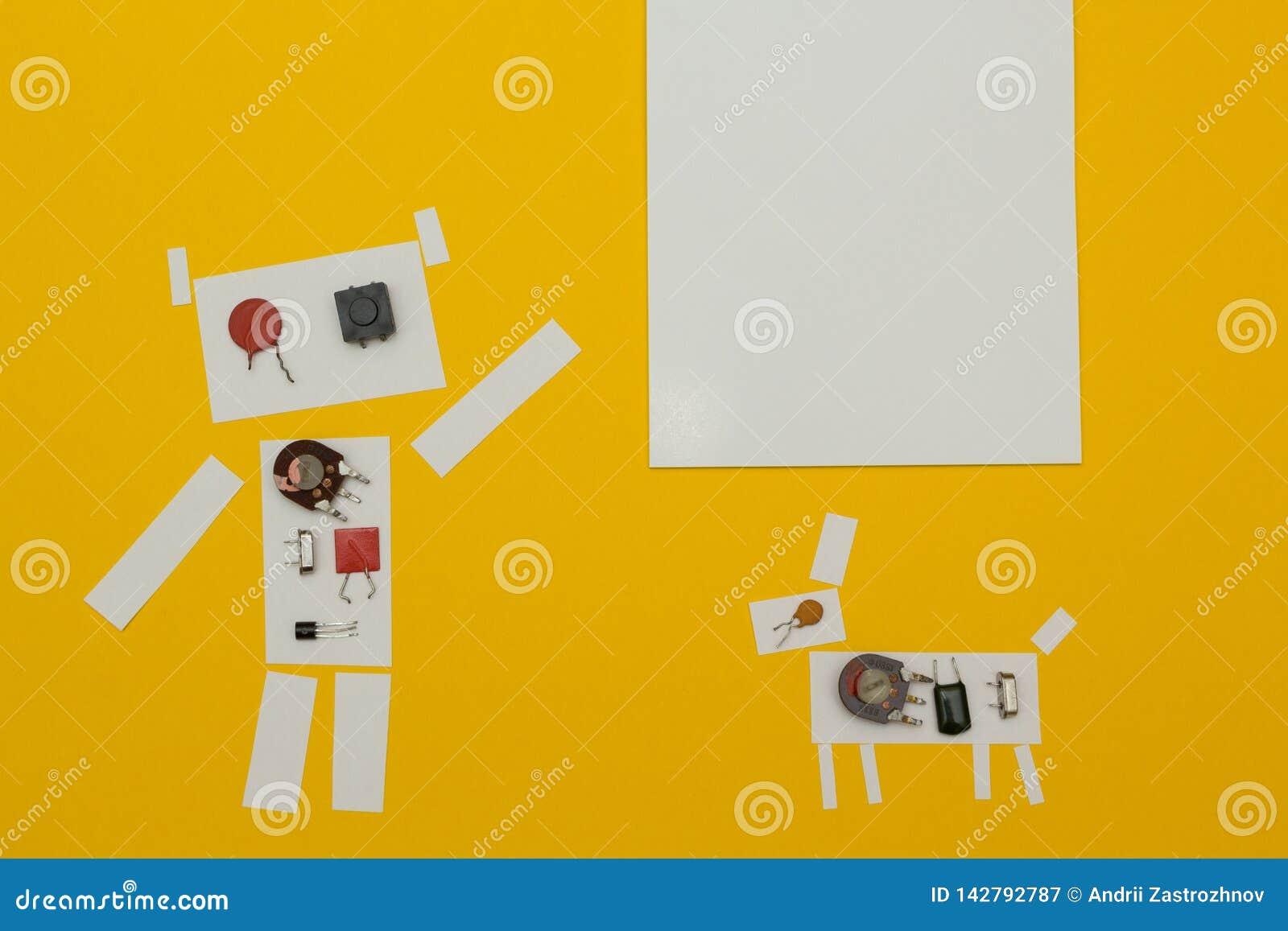 Pontos de papel do robô a um sinal com espaço para o texto