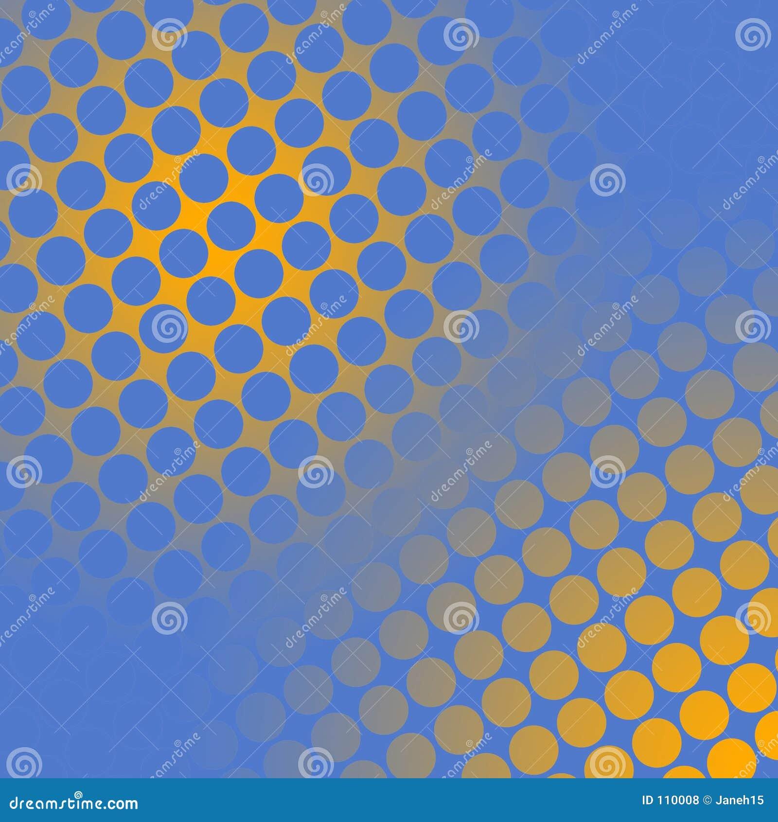 Pontos em amarelo e no azul