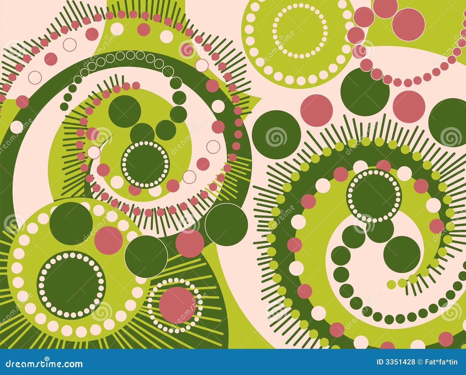 Pontos espirais cor-de-rosa verdes retros