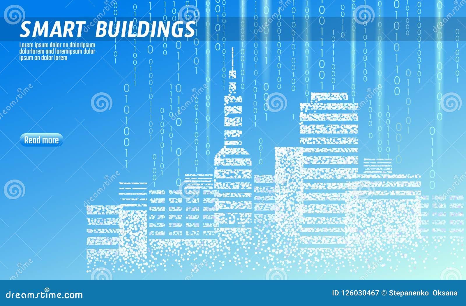 Pontos manchados 3D espertos da cidade Conceito inteligente do negócio do sistema de automatização de construção Código binário d