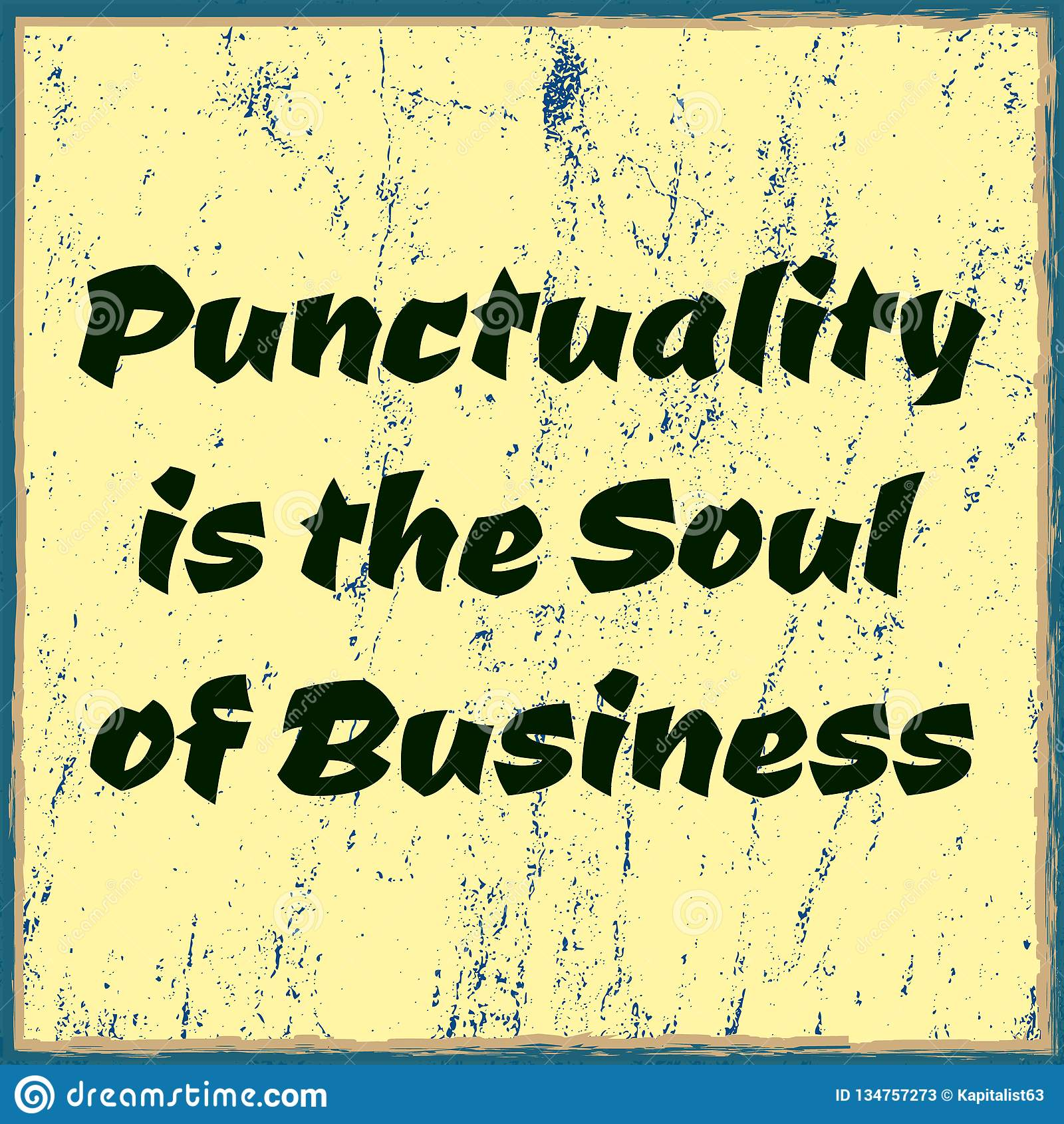 A pontualidade é a alma do negócio Texto minimalistic tipográfico Poster do vetor