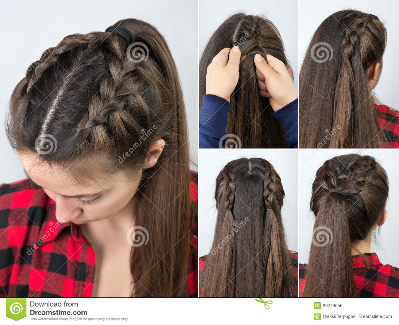 Pony Tail With Braid Hairstyle Tutorial Stock Photo Image