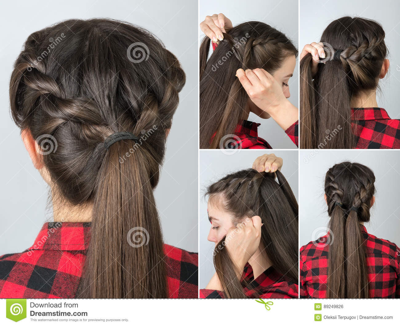 Pony Tail Hairstyle Tutorial Stock Photo Image Of Hair Made 89249826