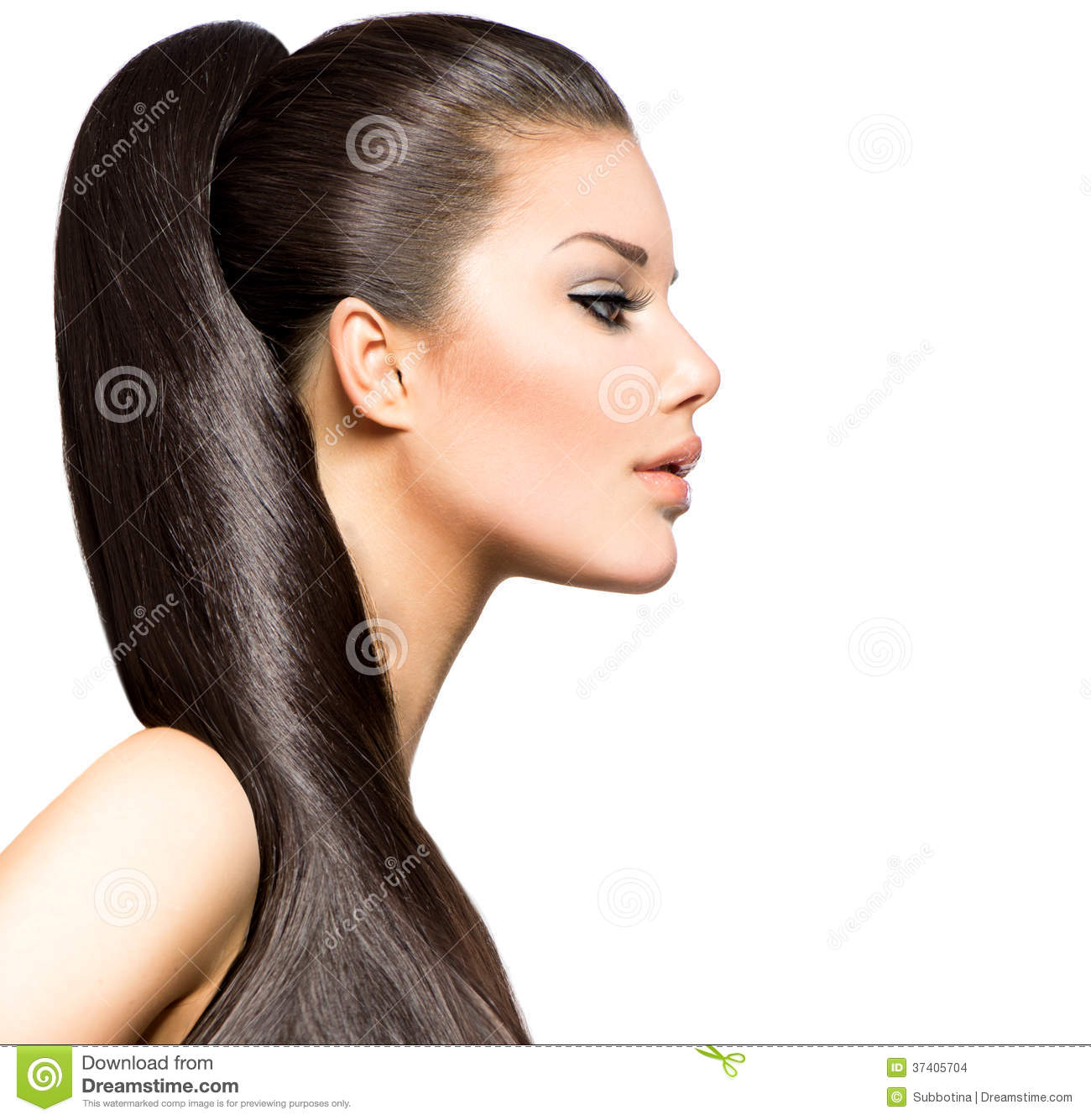 Ponytail hairstyle beauty brunette fashion model girl Long medium golden brown hairstyle with thin bangs