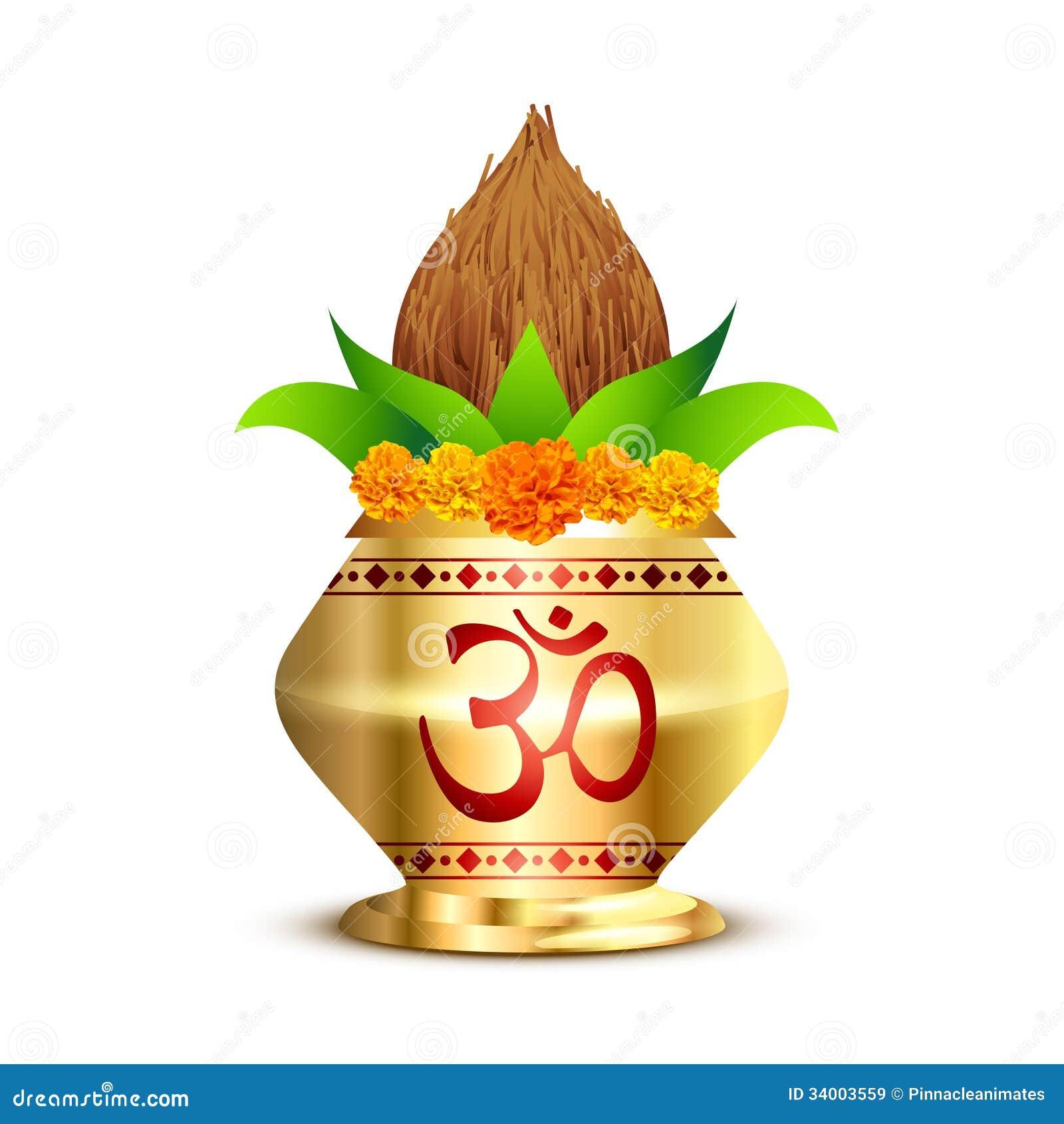 Pooja Kalash Stock Vector Image Of Golden Hinduism