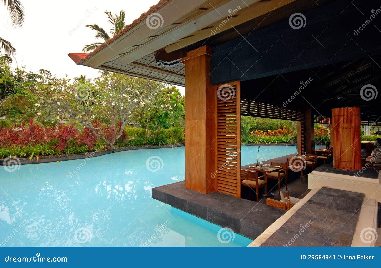 pool and asian pavilion on tropical resort bali