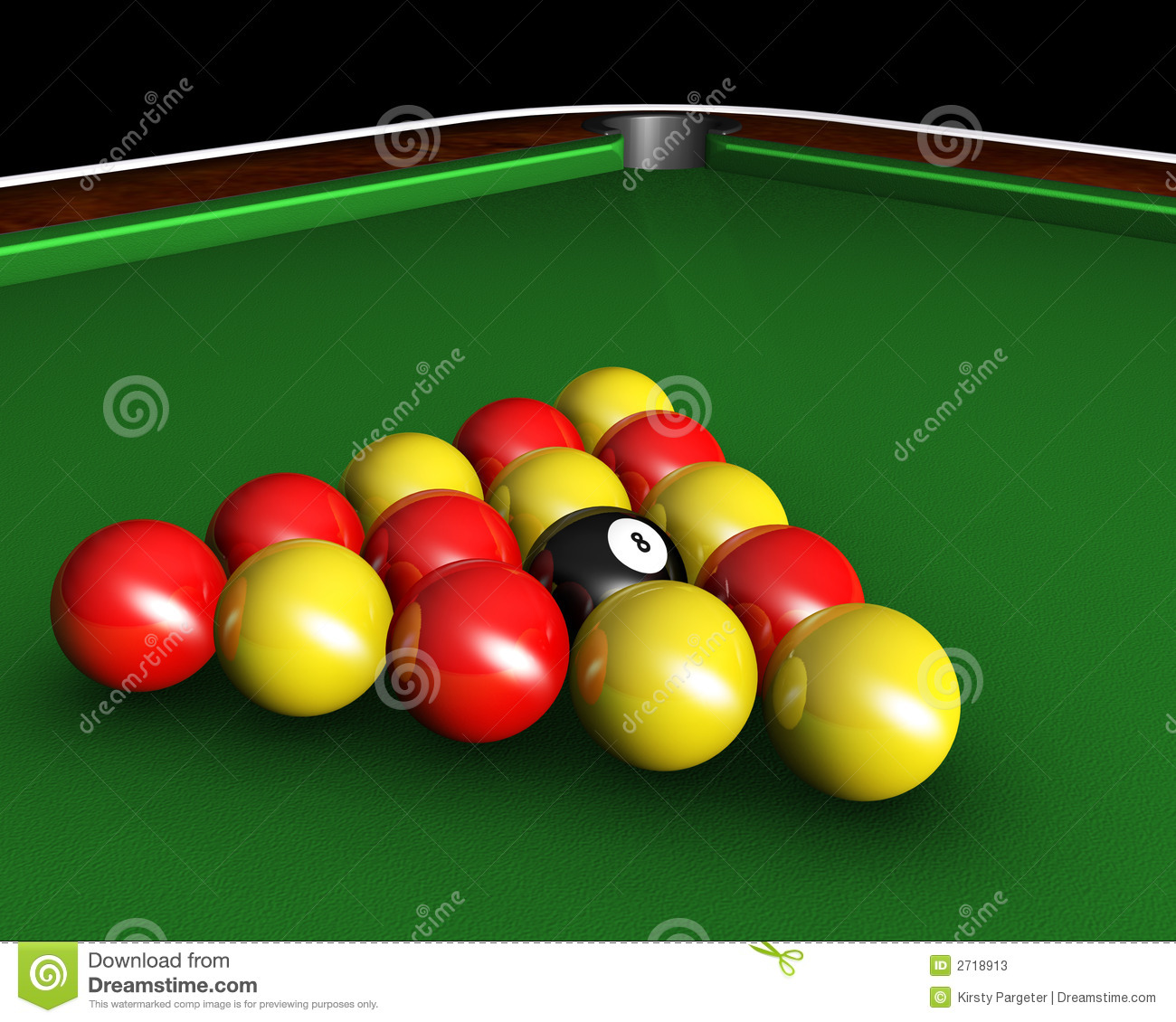 3D Render Of Pool Balls On Pool Table