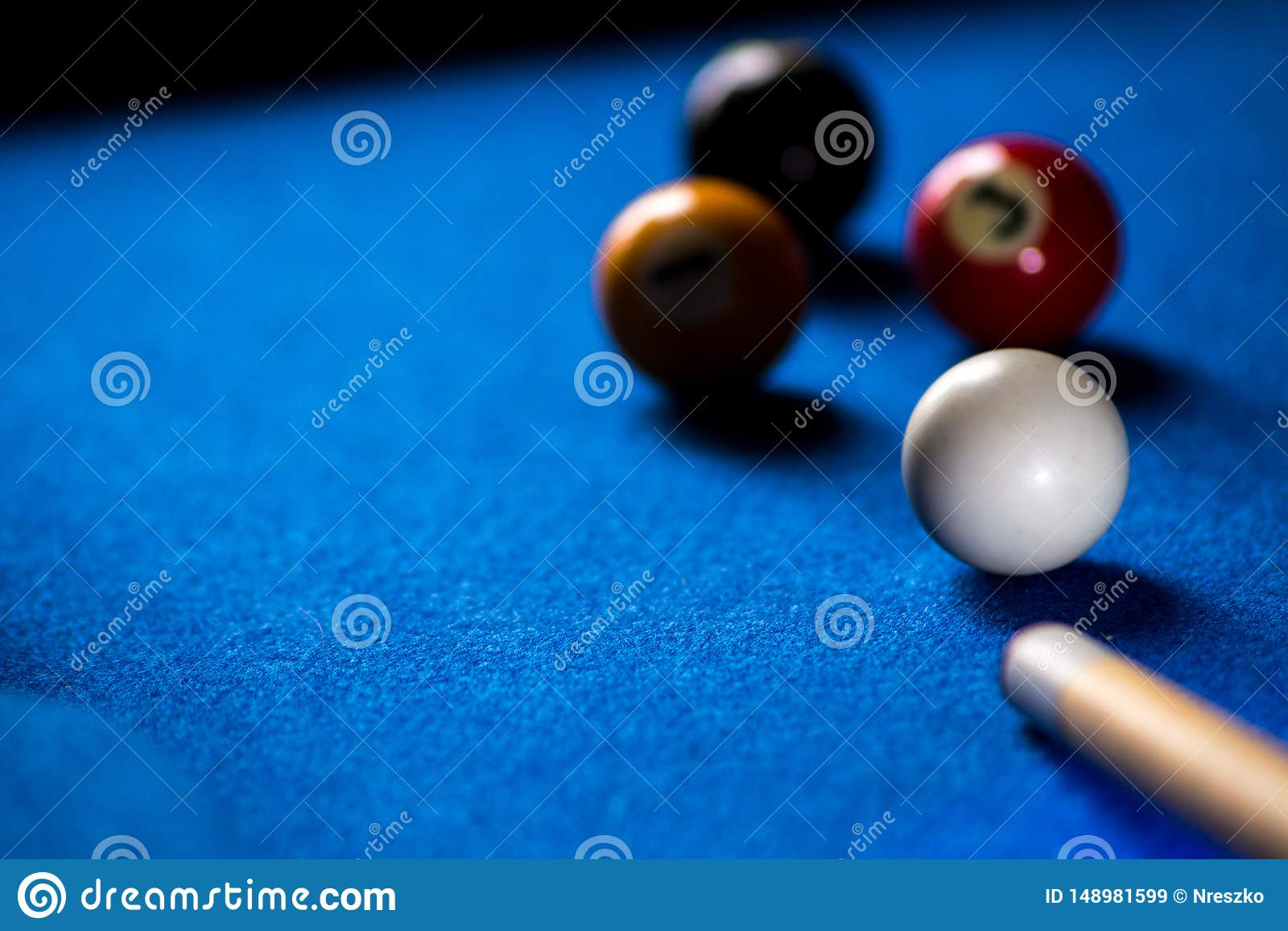 Pool billiard balls on blue table sport game set. Snooker, pool game