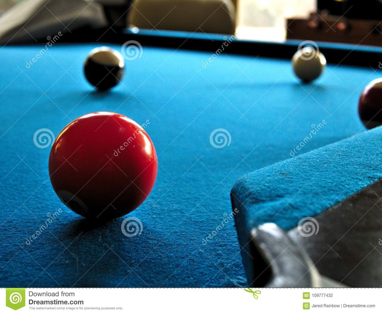 Pool Or Billiards Table With Cue Ball And Blue Felt Stock Photo - Black pool table with blue felt