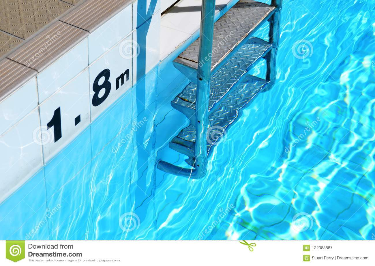swimming pool ladder and depth marker stock image image of