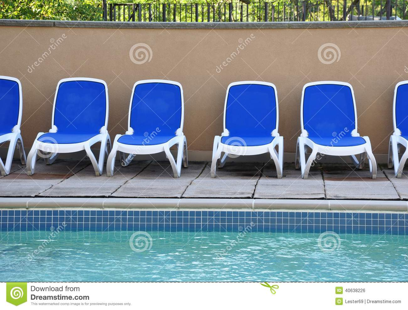 White Pool Deck Chairs: Family Vacation, Relax On Pool Deck Lounge Chairs Stock