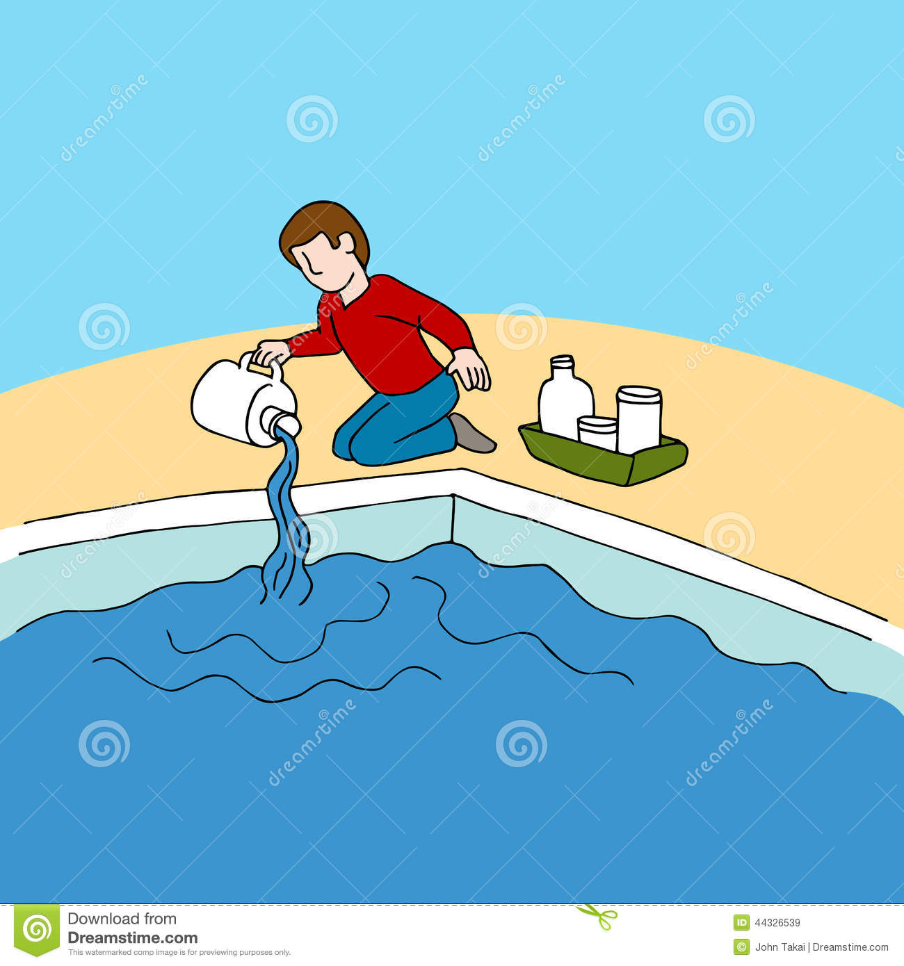 Swimming Pool Cleaning Clip Art : Pool chemicals cartoon vector cartoondealer