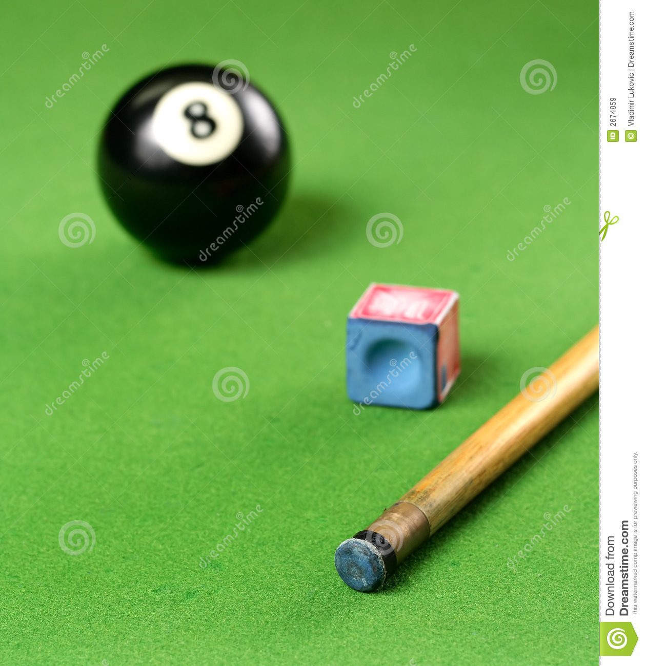 Pool Cue and 8 ball and chalk