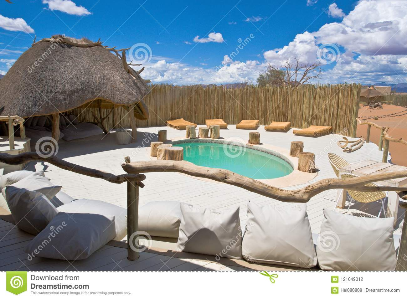 Pool Of A Luxury Lodge Namib Naukluft Park Namibia Stock