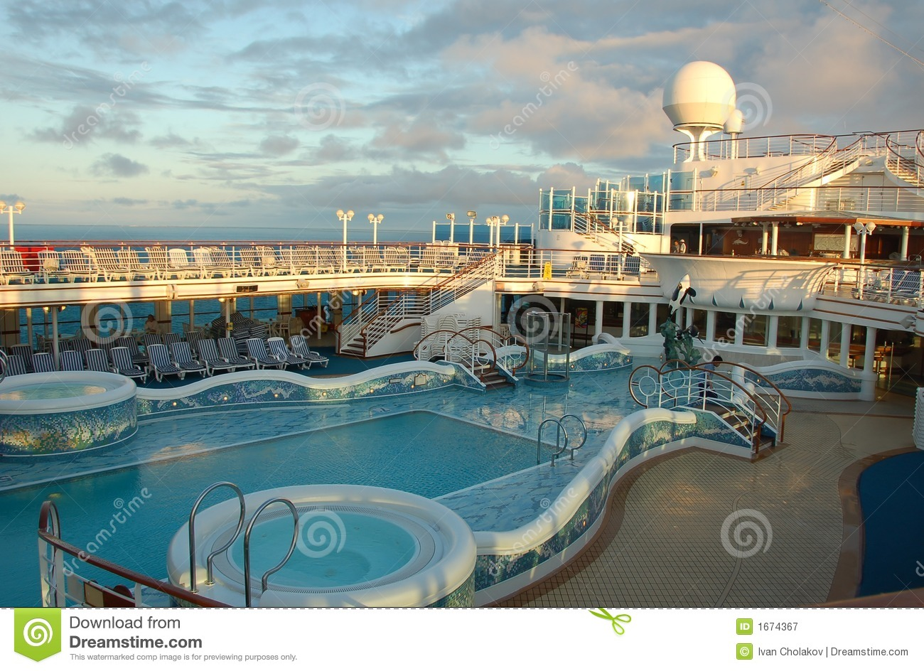 Pool Deck On Modern Cruise Ship Royalty Free Stock Photography Image 1674367