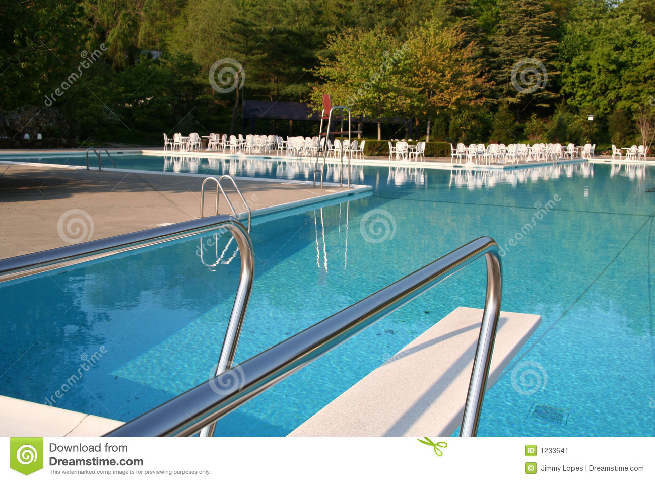 Pool With Diving Board Stock Image Image 1233641