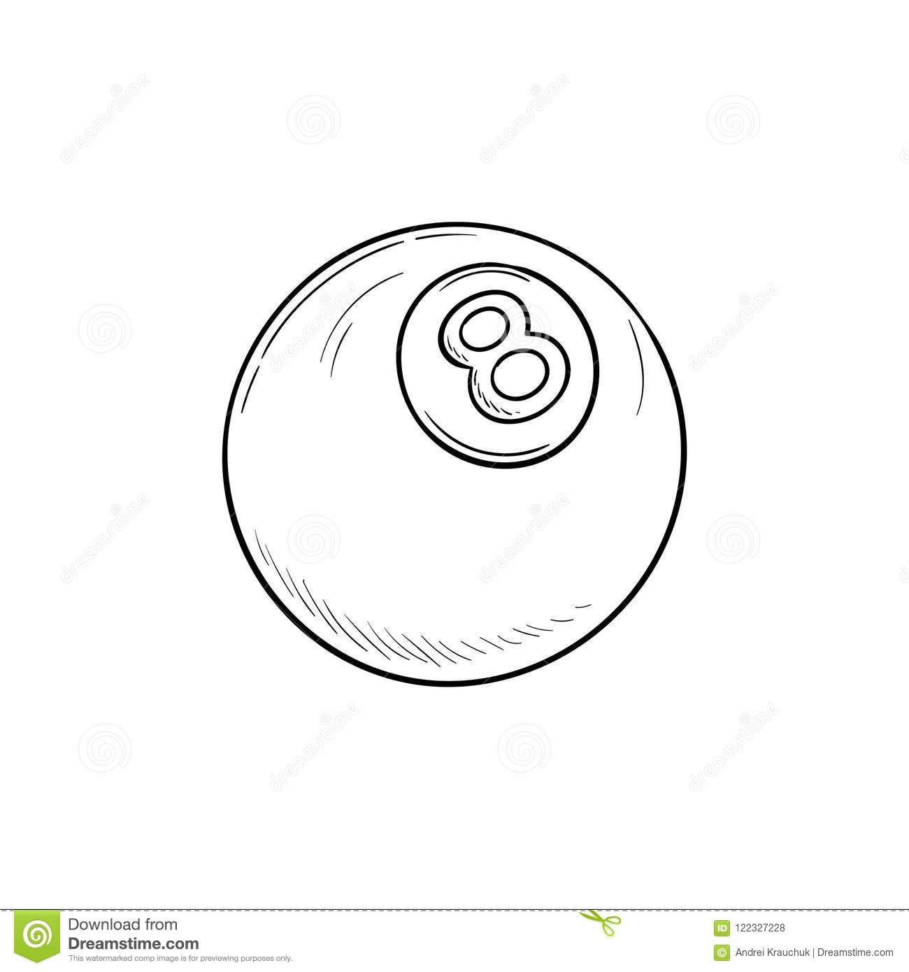 pool eight ball hand drawn outline doodle icon stock vector