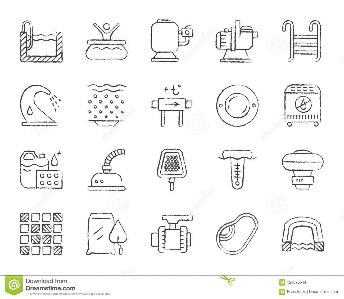 Pool Equipment Charcoal Draw Line Icons Vector Set Stock ...