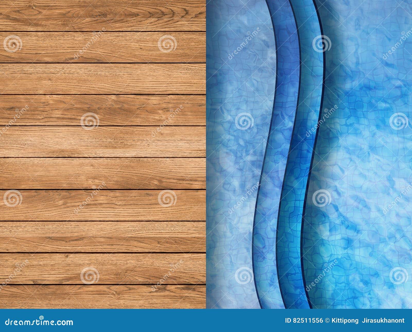 Pool hoogste mening met houten vloer en ladder