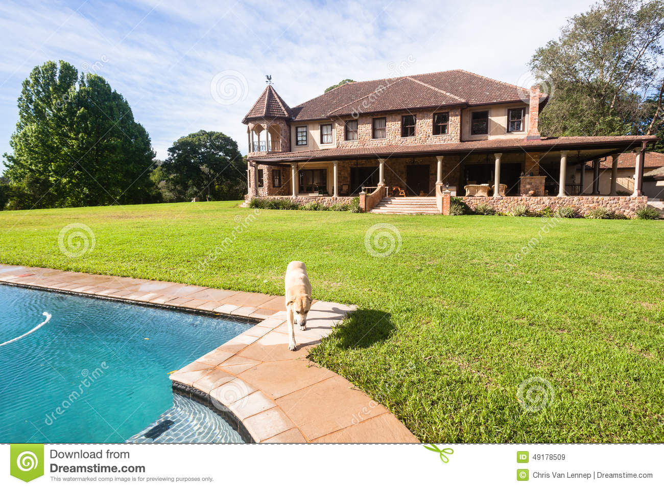 Pool lawn mansion stock photo image 49178509 - Countryside homes parents welcoming ...