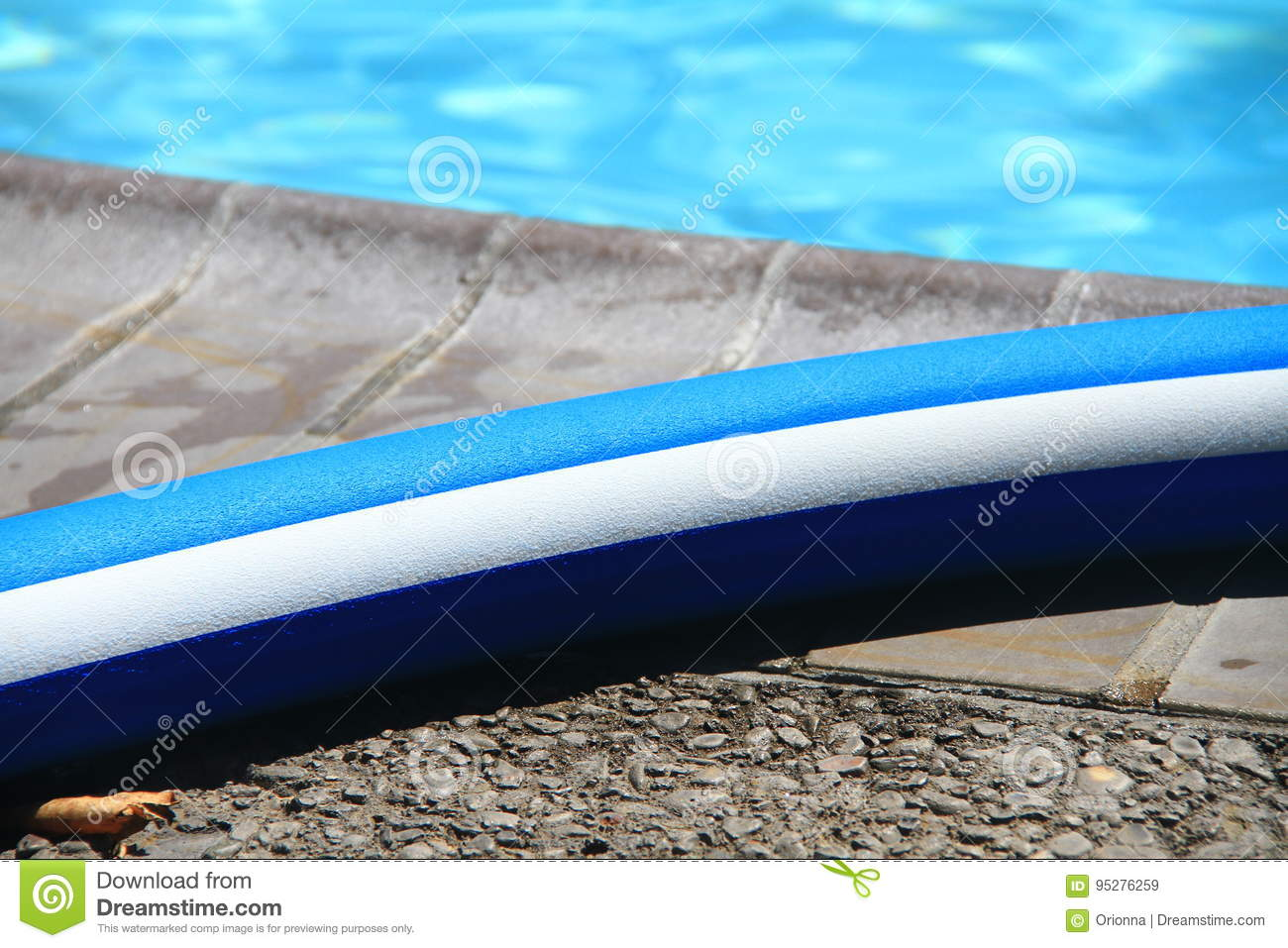 Pool noodle by the swimming pool