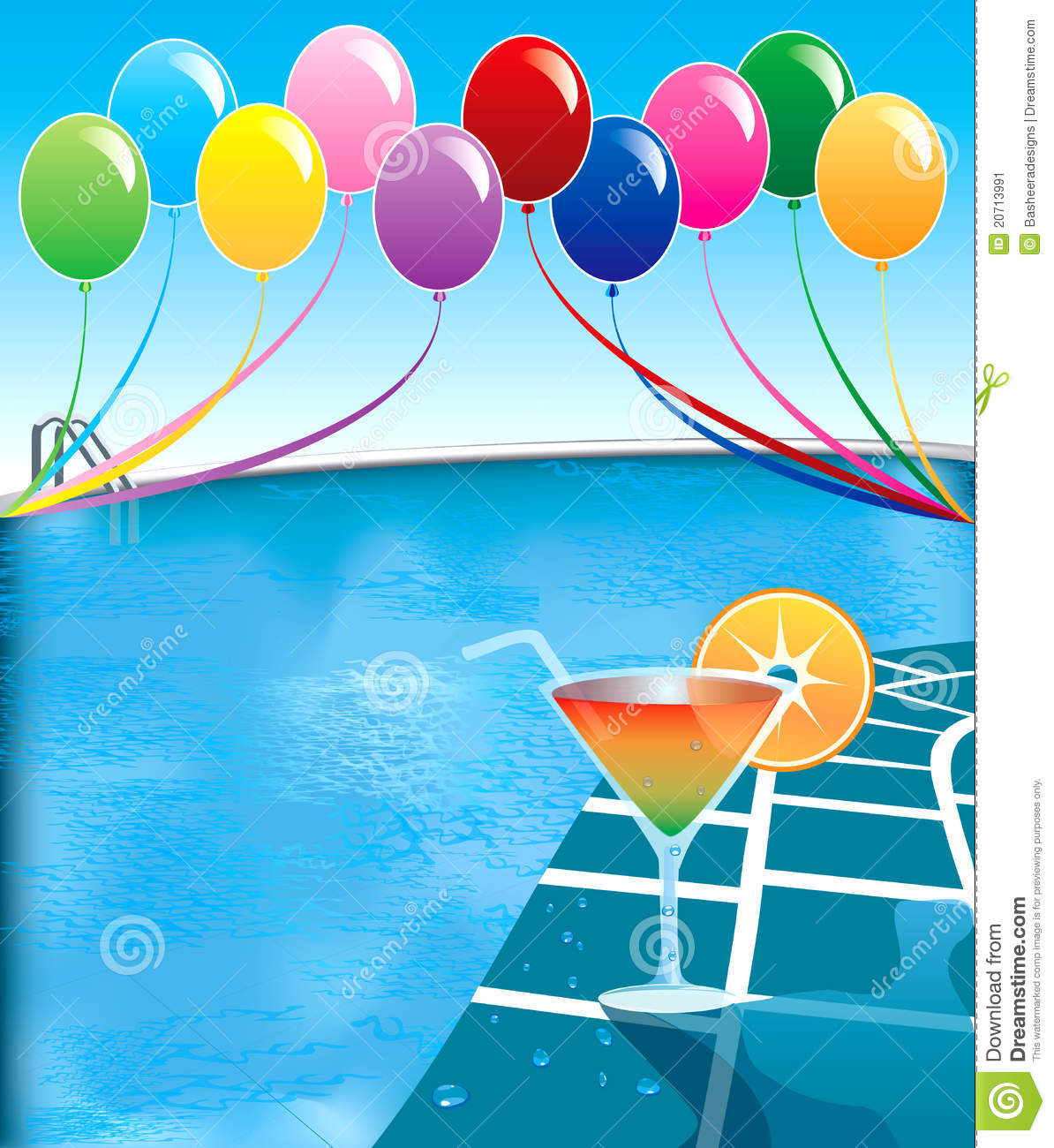 Pool party vektor abbildung bild von brosch re karte 20713991 for Free clipart swimming pool party