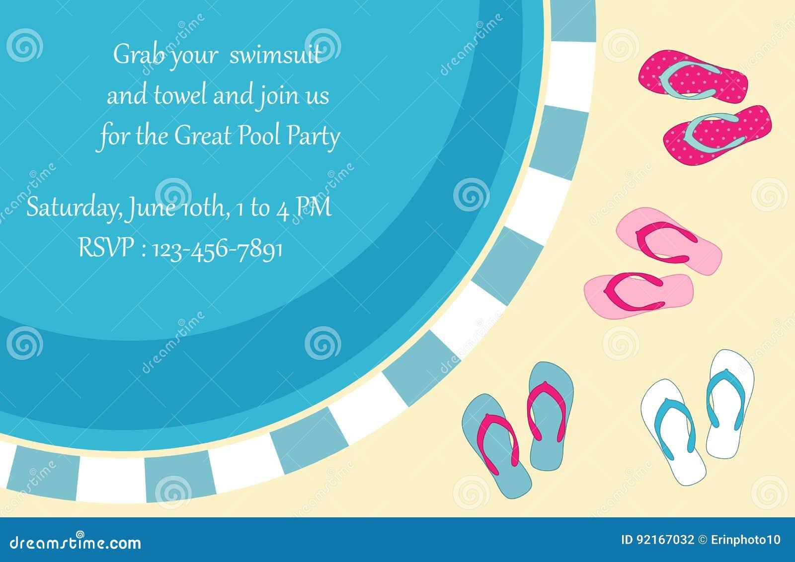 Pool-Party-Einladung vektor abbildung. Illustration von broschüre ...