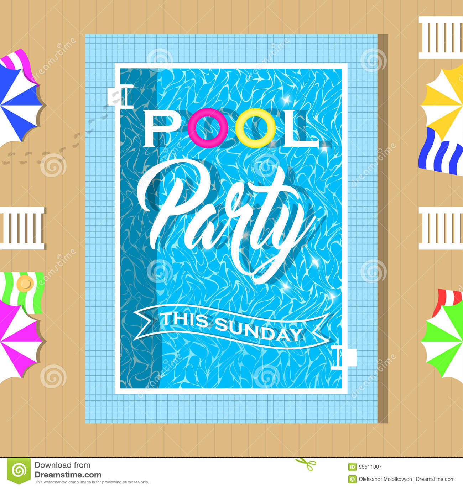 Pool-Party-Einladungsdesign Schablone Für Flieger Und Plakat Vektor ...