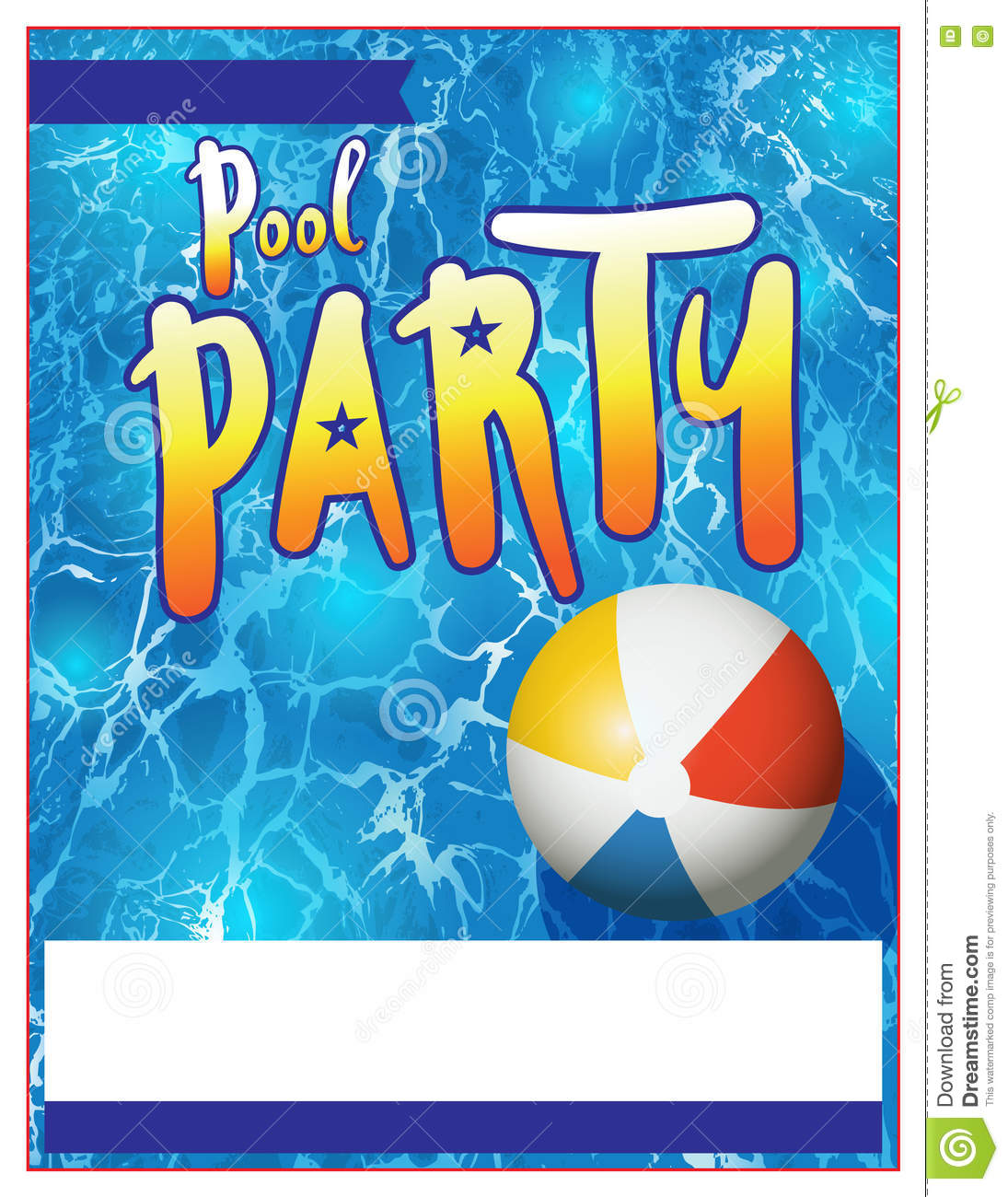 Pool Party Flyer Invitation Illustration Vector Image – Blank Pool Party Invitations
