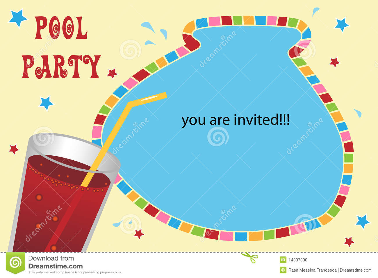 Illustration Of A Pool Party Invitation CardEPS File Available